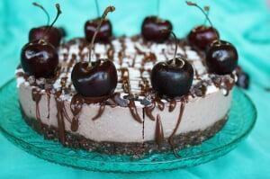 Raw Chocolate Cherry Cheesecake