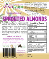 Almonds, Sprouted, Unpasteurized, Raw, Organic, 8oz